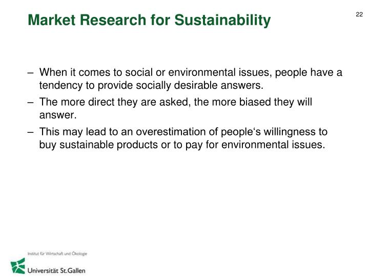 Market Research for Sustainability