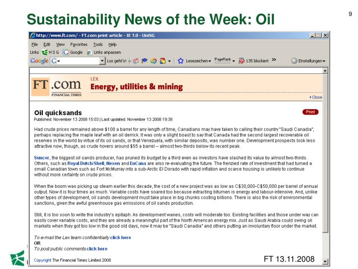Sustainability News of the Week: Oil