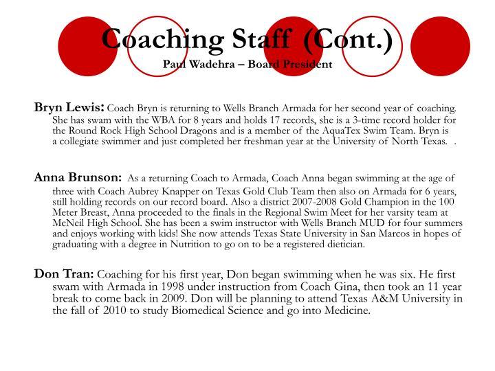 Coaching Staff (Cont.)