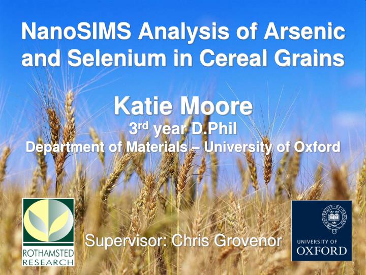 nanosims analysis of arsenic and selenium in cereal grains n.