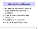 optimizations and security