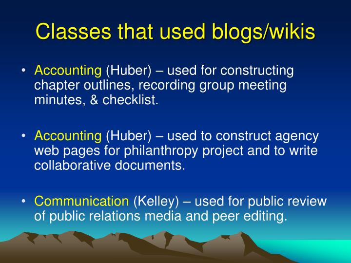 Classes that used blogs wikis