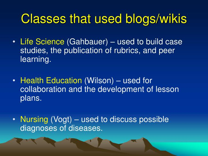 Classes that used blogs wikis1