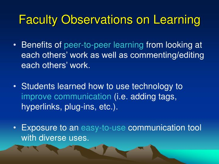 Faculty Observations on Learning