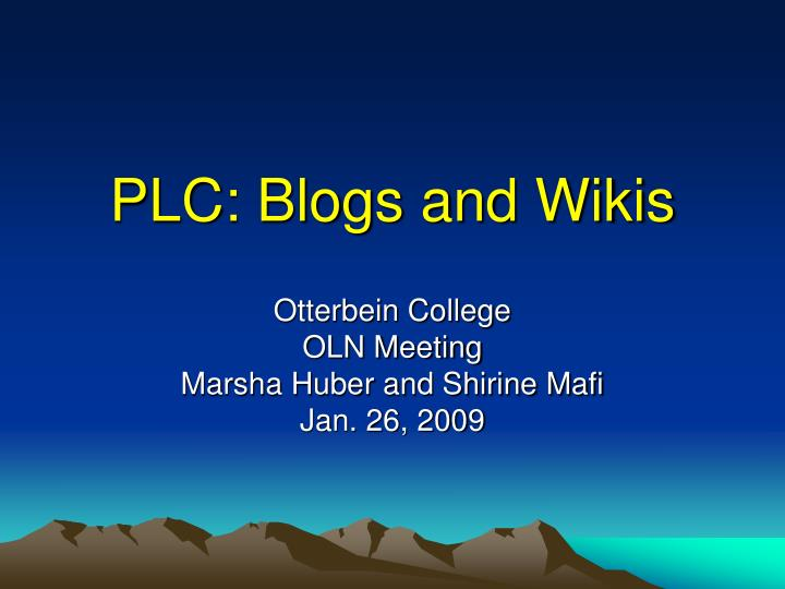 Plc blogs and wikis