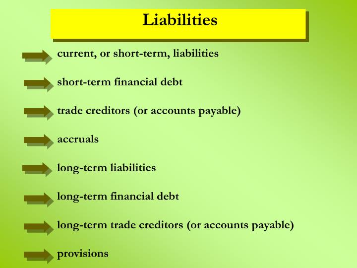 current, or short-term, liabilities
