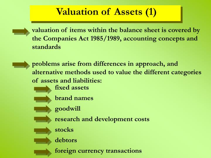 valuation of items within the balance sheet is covered by the Companies Act 1985/1989, accounting concepts and standards