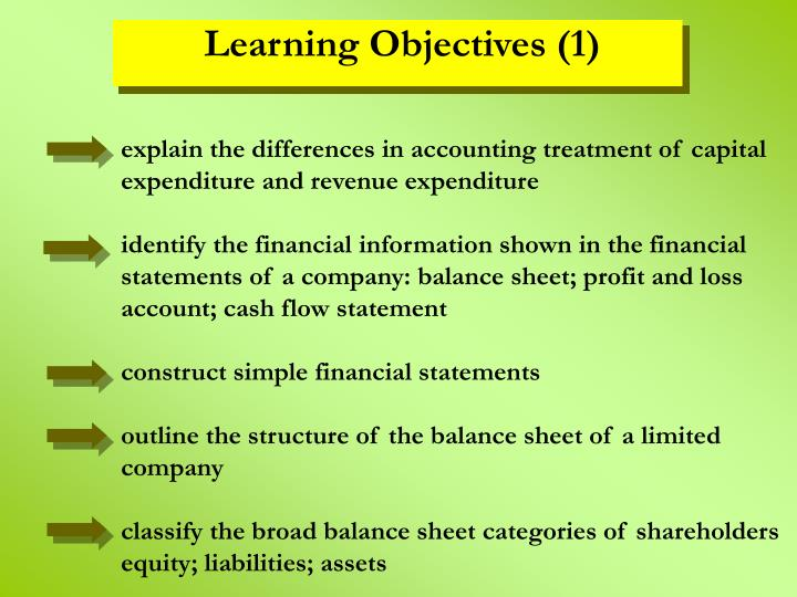 explain the differences in accounting treatment of capital expenditure and revenue expenditure