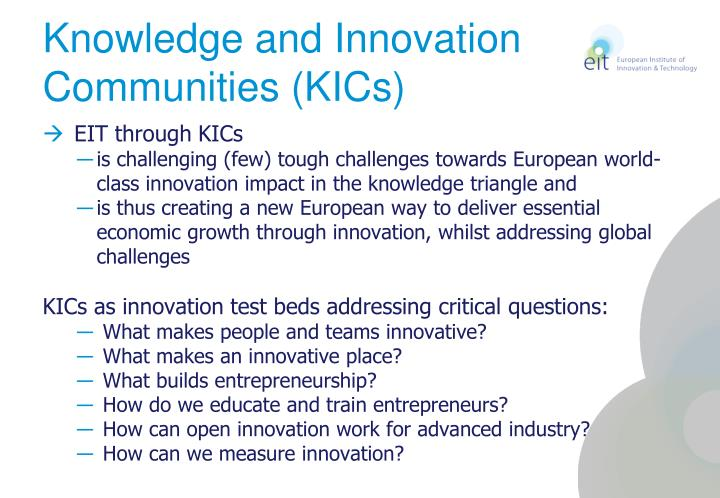 Knowledge and Innovation Communities (KICs)
