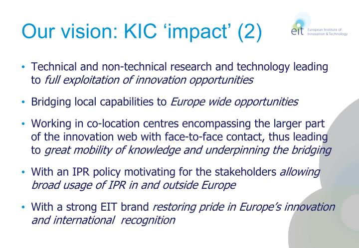 Our vision: KIC 'impact' (2)