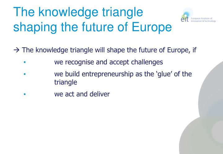 The knowledge triangle