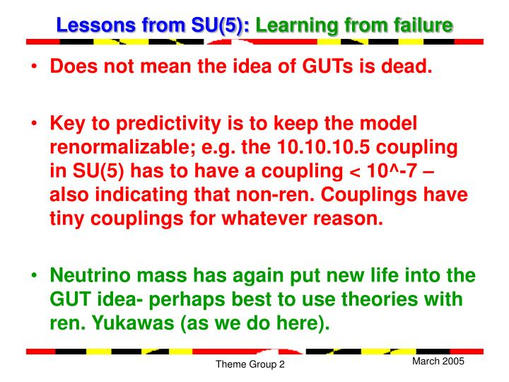 Lessons from SU(5):