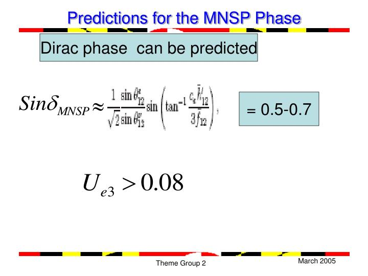 Predictions for the MNSP Phase