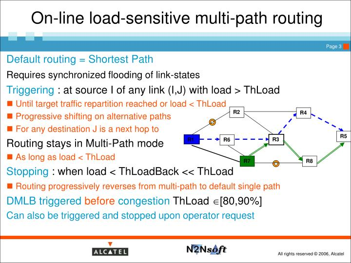 On line load sensitive multi path routing