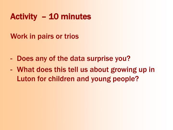 Activity  – 10 minutes