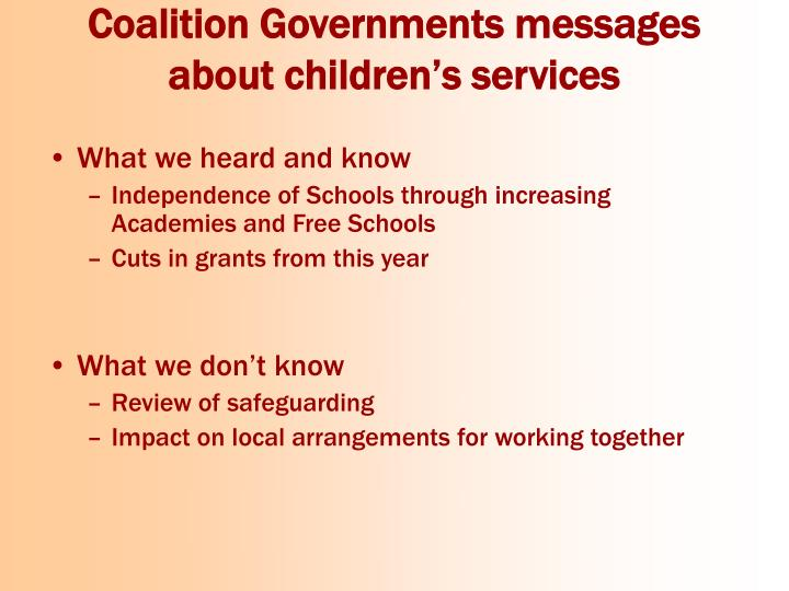 Coalition Governments messages about children's services