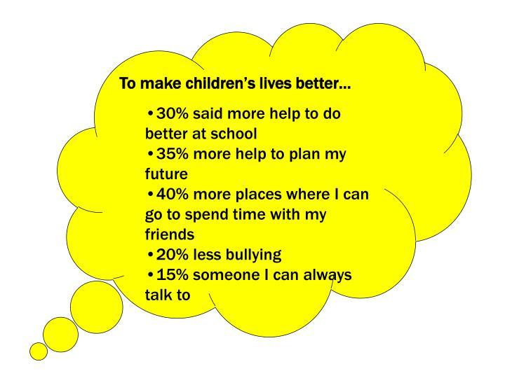 To make children's lives better…