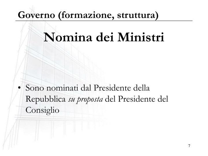 Governo (formazione, struttura)