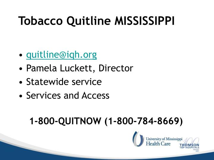 Tobacco Quitline MISSISSIPPI