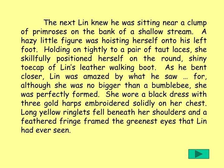 The next Lin knew he was sitting near a clump of primroses on the bank of a shallow stream.  A hazy little figure was hoisting herself onto his left foot.  Holding on tightly to a pair of taut laces, she skillfully positioned herself on the round, shiny toecap of Lin