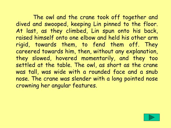 The owl and the crane took off together and dived and swooped, keeping Lin pinned to the floor. At last, as they climbed, Lin spun onto his back, raised himself onto one elbow and held his other arm rigid, towards them, to fend them off. They careered towards him, then, without any explanation, they slowed, hovered momentarily, and they too settled at the table. The owl, as short as the crane was tall, was wide with a rounded face and a snub nose. The crane was slender with a long pointed nose crowning her angular features.