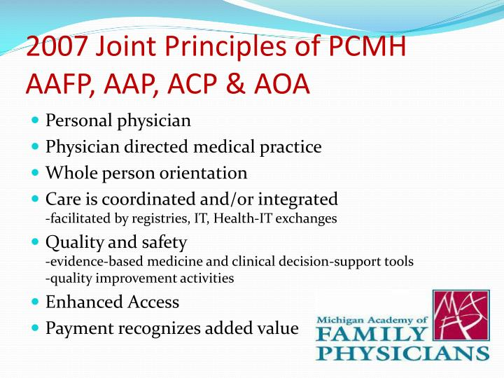2007 Joint Principles of PCMH