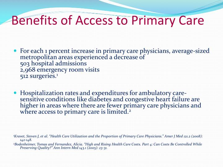 Benefits of Access to Primary Care