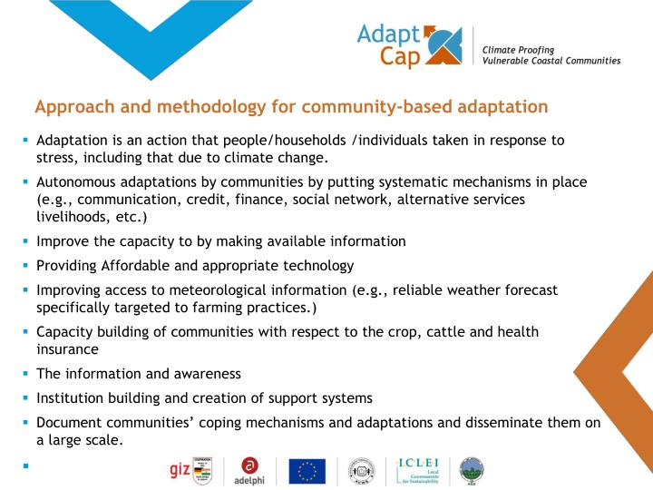 Approach and methodology for community-based adaptation