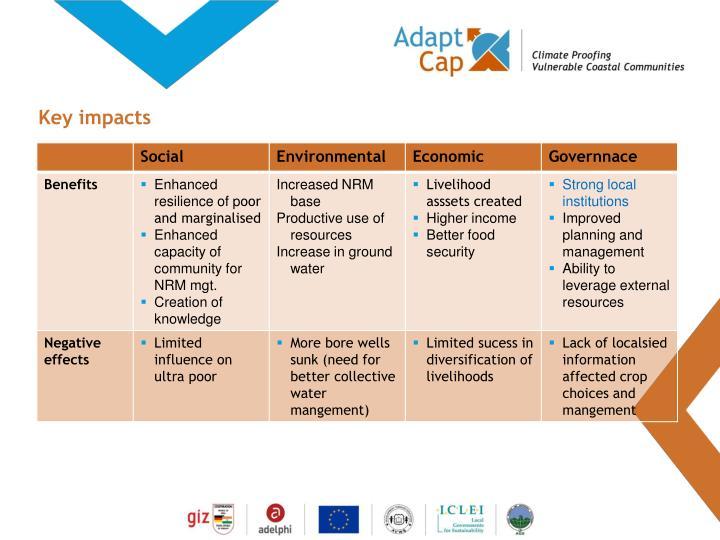 Key impacts