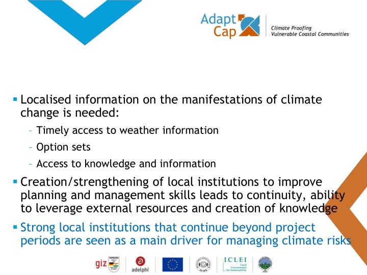 Localised information on the manifestations of climate change is needed: