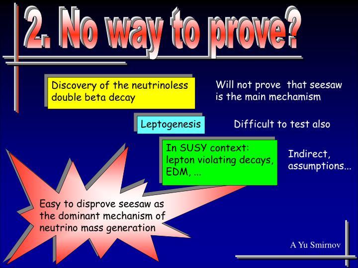 2. No way to prove?