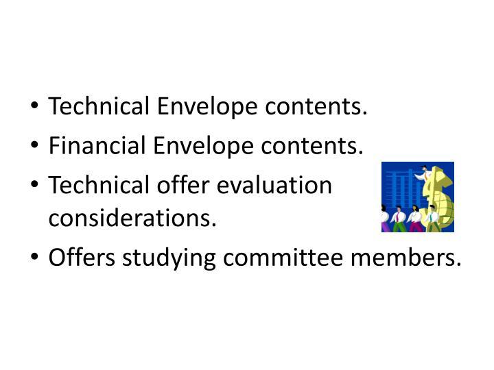 Technical Envelope contents.