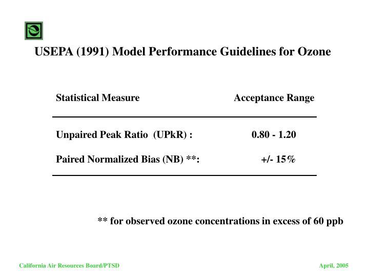 USEPA (1991) Model Performance Guidelines for Ozone