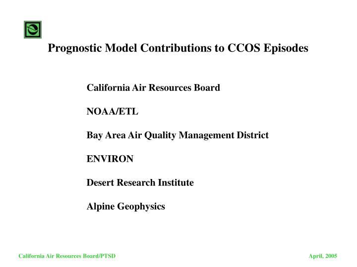 Prognostic Model Contributions to CCOS Episodes