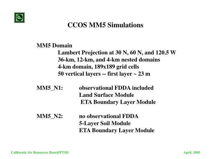 CCOS MM5 Simulations