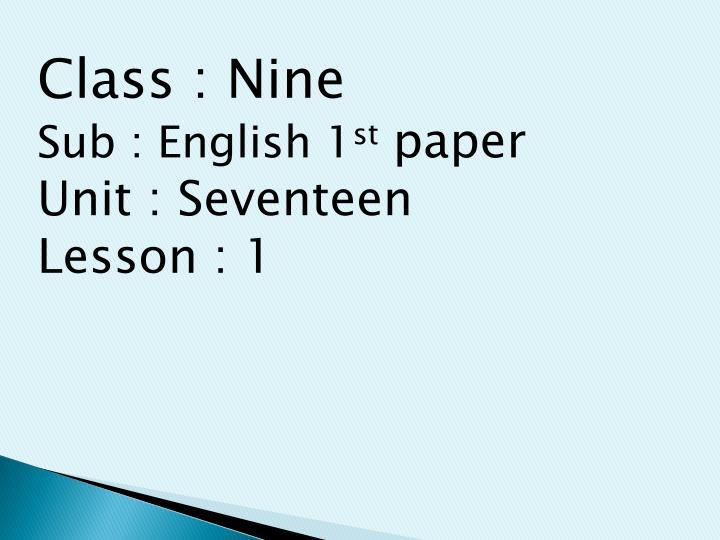 Class : Nine
