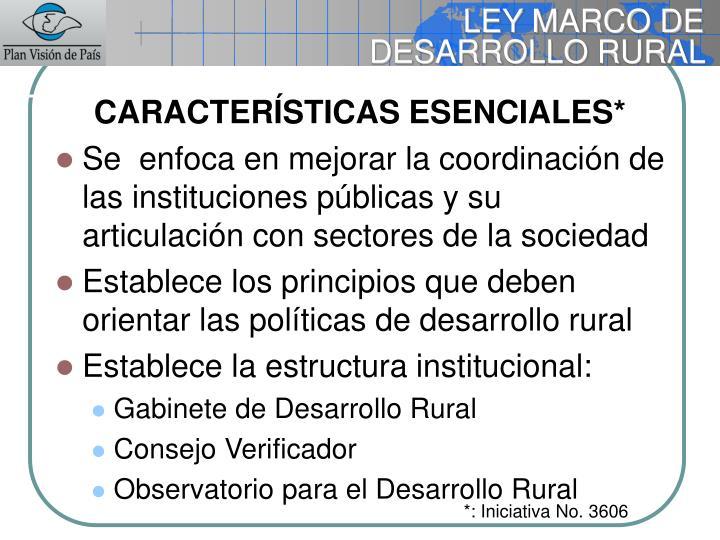 LEY MARCO DE DESARROLLO RURAL