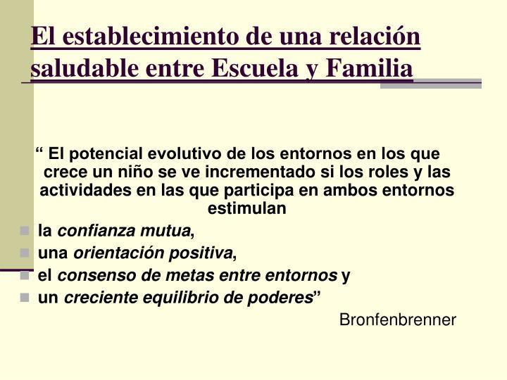 El establecimiento de una relación saludable entre Escuela y Familia