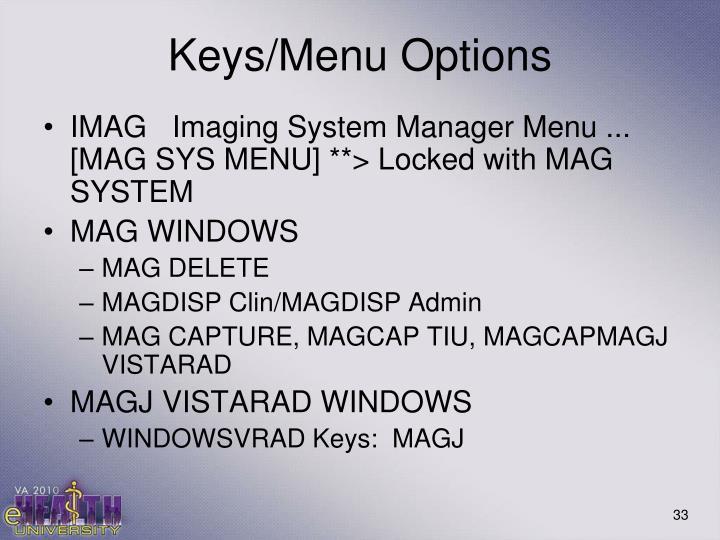 Keys/Menu Options