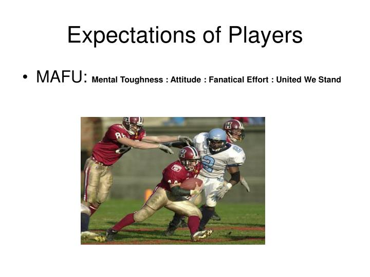 Expectations of Players