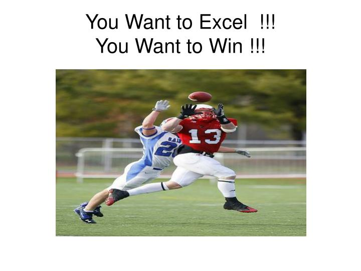 You Want to Excel  !!!