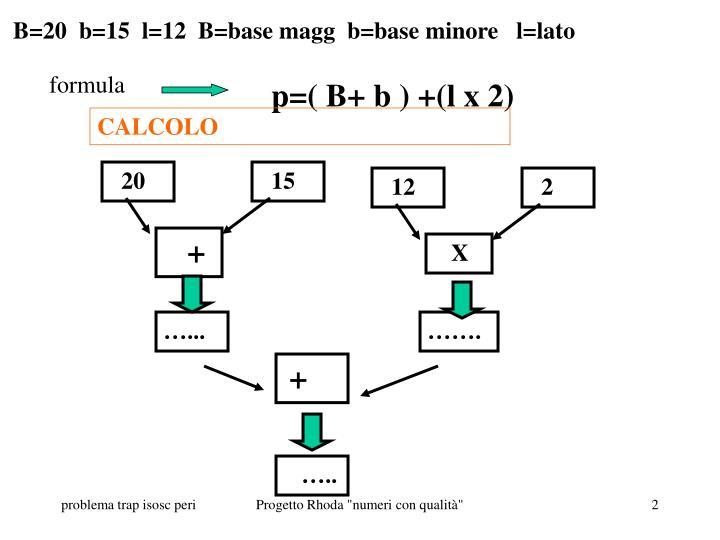 B=20  b=15  l=12  B=base magg  b=base minore   l=lato
