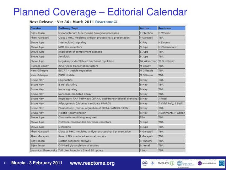 Planned Coverage – Editorial Calendar