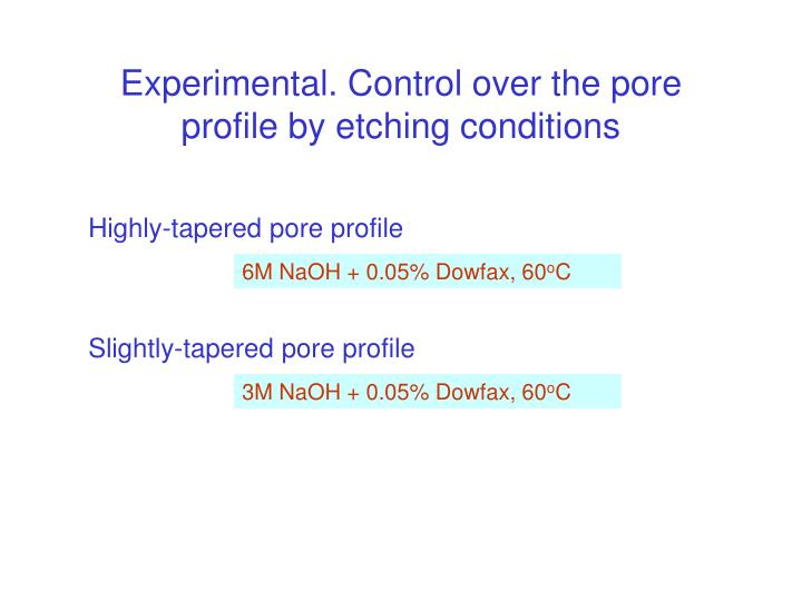 Experimental. Control over the pore profile by etching conditions
