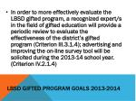 lbsd gifted program goals 2013 20143