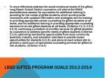 lbsd gifted program goals 2013 20144