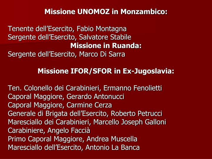 Missione UNOMOZ in Monzambico: