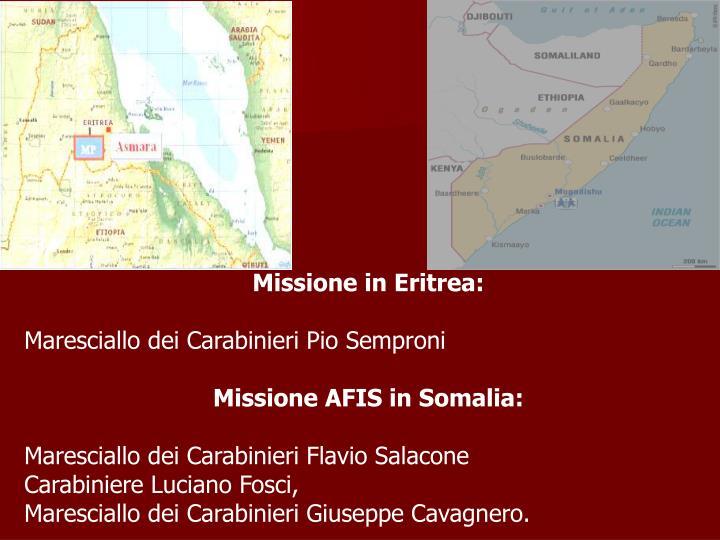 Missione in Eritrea: