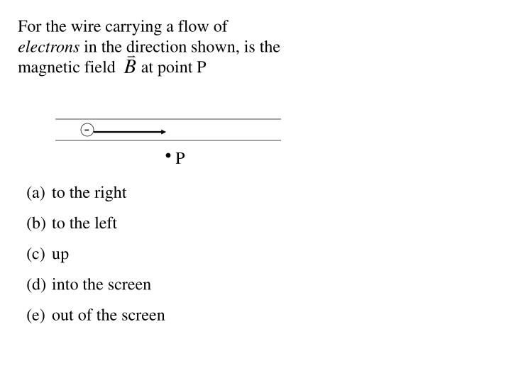 For the wire carrying a flow of