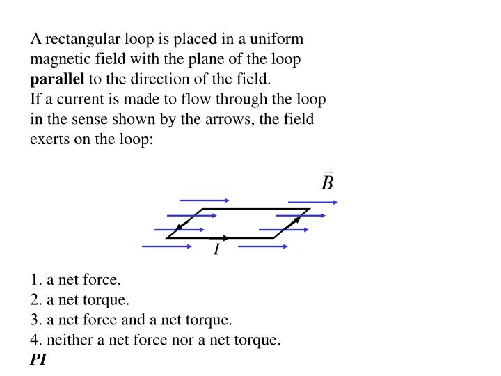 A rectangular loop is placed in a uniform